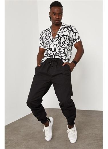 XHAN Beli Paçası Lastikli Pantolon 1YXE5-45104-02 Siyah